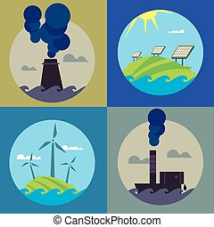 Eco energy and air pollution banners set - Eco energy and...