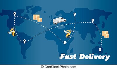Fast delivery banner. World map with routes
