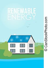 Renewable energy banner. Solar panels on house