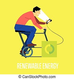 Renewable energy concept. Man with generator