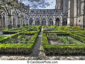 Cloister Garden Utrecht Cathedral - The cloister garden of...