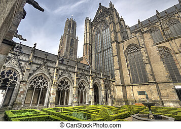 Utrecht Cathedral, Holland - The cloister garden and the...