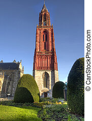 Saint John Church in Maastricht, Holland - Red tower of...
