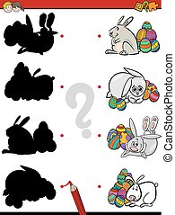 easter shadow task - Cartoon Illustration of Educational...