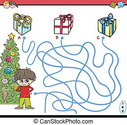 christmas path maze activity - Cartoon Illustration of...