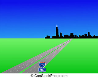 Chicago and interstate 55 - Chicago Skyline and interstate...