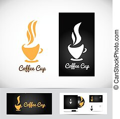 Hot coffee cup logo design