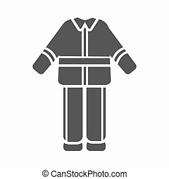 Firefighter uniform icon black. Single silhouette fire equipment icon from the big fire Department simple.