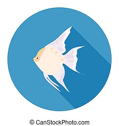 Angelfish common fish icon flat. Singe aquarium fish icon...