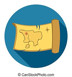 Treasure map icon design. Singe western icon from the wild west flat.