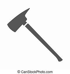 Fire axe icon black. Single silhouette fire equipment icon...