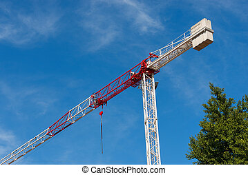Red and White Crane on Blue Sky with Clouds - Detail of a...