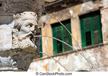 Closeup Fountain of Madonna Verona - Italy - Detail of the...
