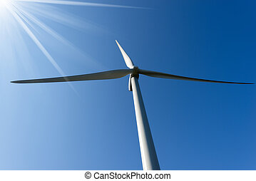 Wind Turbine with Sun Rays
