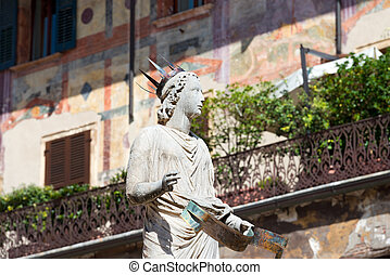 Madonna Verona in Piazza delle Erbe - Italy - Detail of the...