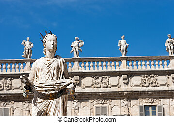 Statue of Madonna Verona - Italy - Detail of the fountain in...