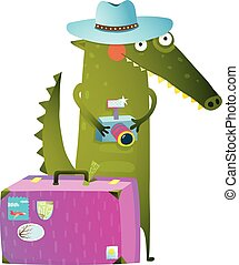 Traveling crocodile tourist with suitcase and camera - Cute...