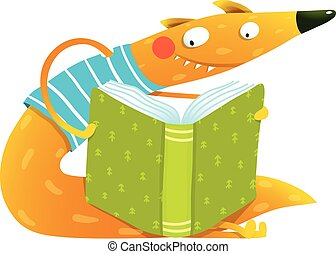 Fun colorful fox reading kids book - Cute red fox sitting...