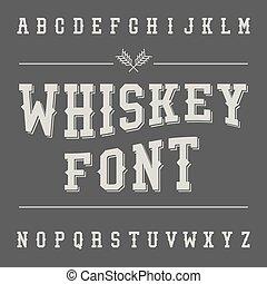 Vintage Whiskey Font Alcohol Drink Label Design Slab Serif...