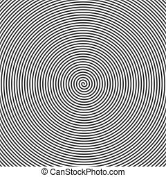Hypnotic Spiral Abstract Background. Retro Style. Black And...