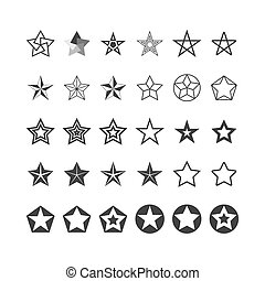 Star Icons Set. Black And White. Vector