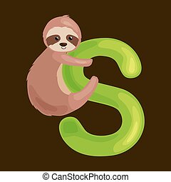 letter s with sloth animal for kids abc education in...