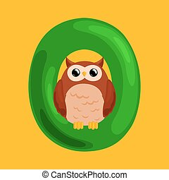 letter O with animal owl for kids abc education in preschool.