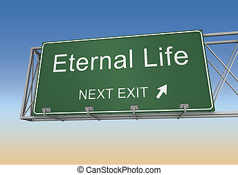 eternal life road sign 3d illustration - eternal life road...