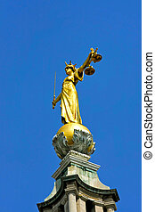Lady justice statue at Old Bailey in London