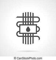 Black style vector icon water warm floor - Symbol of...