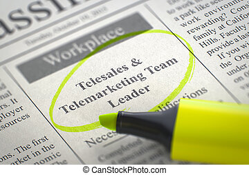 Job Opening Telesales and Telemarketing Team Leader. 3D. -...