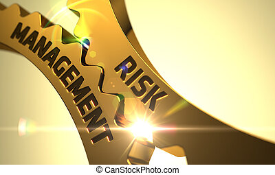 Golden Cog Gears with Risk Management Concept. 3D.