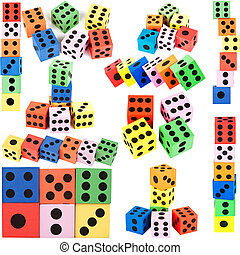 Collection of colorful foam dice - Big size collection of...