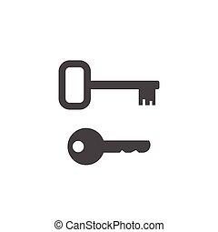 Keys shape vector icons, door or padlock key silhouette -...