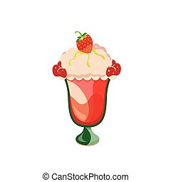 Strawberry ice cream on a white background. Vector...