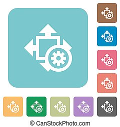 Flat size settings icons on rounded square color backgrounds...