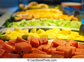 Fresh Cut Melons at Salad Bar - Fresh cut melons and...