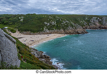 Porthcurno Beach, Cornwall - a view of Porthcurno Beach,...
