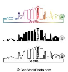 Seattle V2 skyline linear style with rainbow - Seattle...