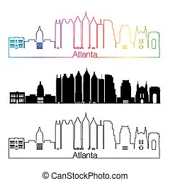Atlanta V2 skyline linear style with rainbow - Atlanta...