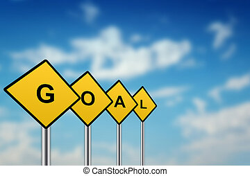 goal on yellow road sign with blurred sky background