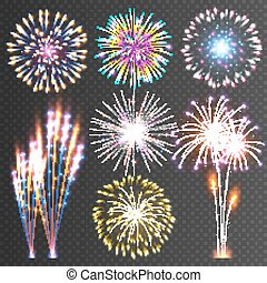 Festive Firework. Abstract Vector Pictograms. Dazzling Light...