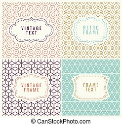 Minimal Background. Retro Mono Line Frames with place for...