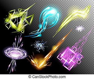 Vector Glowing Light Effect set. Sparkling Efect Design...