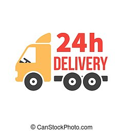 24 Hour Delivery Icon. Next Day Shipping. Flat Style Vector.