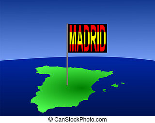 Spain with Madrid flag - Map of Spain with Madrid Spanish...