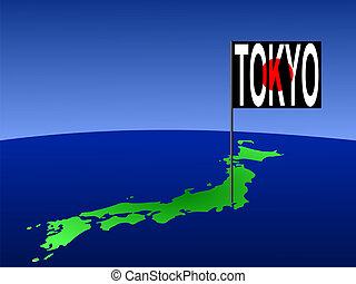 Japan with Tokyo flag