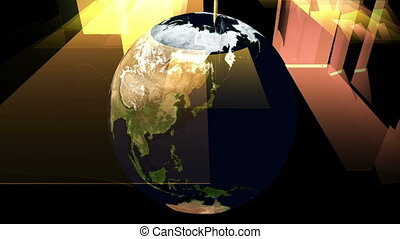 Digital Particle Animation of the Earth with floating Sheets