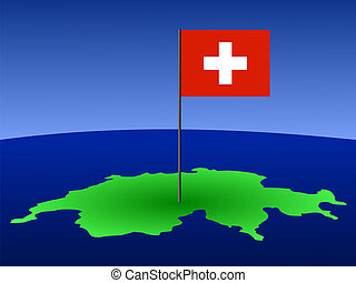 Swiss flag on map