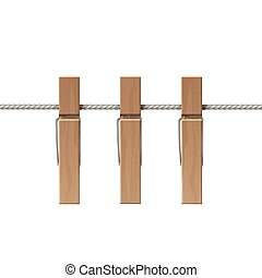 Wooden Clothespins Pegs Rope Side View Isolated - Vector...